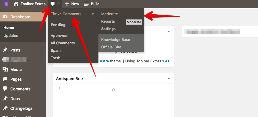 Thrive Comments integration in Toolbar Extras